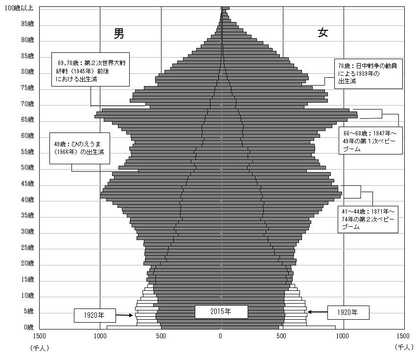 人口ピラミッド(2015年)
